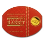 2011 1 oz Proof Gold Lunar Year of the Rabbit (Series II)
