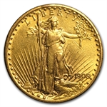 1909/8 $20 St. Gaudens Gold Double Eagle - Cleaned