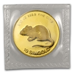 Singapore 1984 - Rat (10 Singold) 1/10 Oz Gold Coin (Proof)