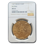 Mexico 1947 50 Peso Gold Coin - MS65-NGC