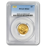 $3 Gold Princess - MS-64 NGC or PCGS