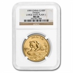 1999 1 oz Gold Chinese Panda MS-68 NGC - Large Date (No Serif)