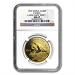 1999 1 oz Gold Chinese Panda MS-67 NGC - Large Date (Serif 1)