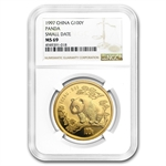 1997 1 oz Gold Chinese Panda MS-69 NGC - Small Date