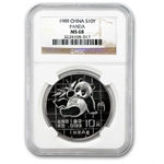 1989 1 oz Silver Chinese Panda - MS-68 NGC