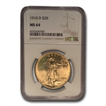 1910-D $20 St. Gaudens Gold Double Eagle - MS-64 NGC
