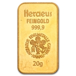 20 gram Heraeus Gold Bar .9999 Fine