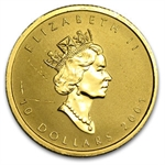 2001 1/4 oz Holgram Gold Canadian Maple Leaf (Abrasions)