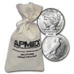 1922-1935 Peace Silver Dollars 100-Coin Bag (AU)