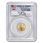 2003 Gold & Silver Eagle Set - MS-69 PCGS - Tommy Franks Signed