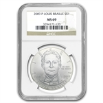 2009-P Louis Braille $1 Silver Commemorative MS-69 NGC