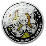 2009 1oz Pf Silver King Brown Snake Discover Australia Dreaming