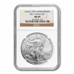 2011 Silver American Eagle - MS-69 NGC - 25th Anniv