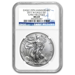 2011 Silver American Eagle - MS-69 NGC - 25th Anniv/Early Release
