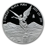 2011 2 oz Silver Mexican Libertad - Proof (In Capsule)