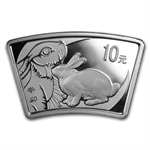 2011 Rabbit Fan Shaped 1 oz Silver (W/Box & Coa)