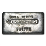 10 oz Engelhard Silver Bar (Wide, Poured, Bull Logo) .999 Fine
