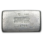 10 oz Engelhard Silver Bar (Wide, Poured, 1st Gen) .999 Fine