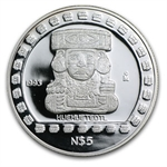 1993 1 oz Mexican Proof Silver 5 Pesos Huehueteotl