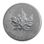 2004 1 oz Silver Canadian Maple Leaf - Aquarius Zodiac Privy