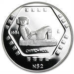 1994 1/2 oz Mexican Proof Silver 2 Pesos Chaac-Mool