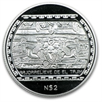 1993 1/2 oz Mexican Proof Silver 2 Pesos BasRelief El Tajin