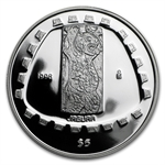 1998 1 oz Mexican Proof Silver 5 Pesos Jaguar