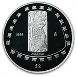 1998 1/2 oz Mexican Proof Silver 2 Pesos Jaguar