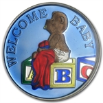 1 oz Welcome Baby Enameled Silver Round - Boy Blue (w/Box & Cap)