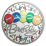 1 oz Happy Birthday Balloons Enameled Silver Round (w/Box & Cap)