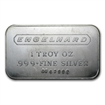 1 oz Engelhard Silver Bar (Wide, Logo / Frosted, 1980, 5-digit)
