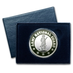 1 oz U.S. Army National Guard Enameled Silver Round (w/Box & Cap)