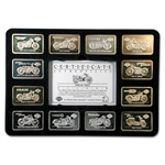 90th Anniv. HARLEY DAVIDSON Silver Ingots Set .999 Fine (24 pc)