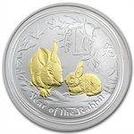 2011 Year of the Rabbit - 1 oz Gilded Silver (SII) (W/Box & Coa)