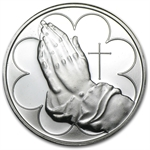 1 oz Praying Hands Silver Round (w/Box & Capsule)