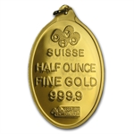 1/2 oz Fortuna Oval-Shaped Pamp Suisse Gold Pendant w/Assay