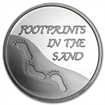 1 oz Footprints in the Sand Silver Round (w/Box & Capsule)