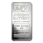 100 oz Johnson Matthey Silver Bar (Pressed) .999 Fine