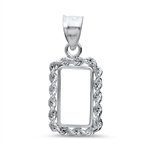 Sterling Silver Prong Rope Polished Bezel (1 Gram Bars)