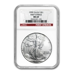 1990 Silver American Eagle - MS-69 NGC - First Strike