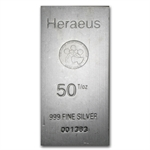 50 oz Heraeus Silver Bar .999 Fine (Dec 20th)