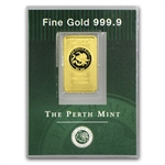 2.5 gram Perth Mint Gold Bar .9999 Fine (Old Style Swan)