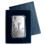 1 oz Female Golfer Silver Bar (w/Gift Box & Capsule)