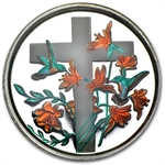1 oz Religious Cross Enameled Silver Round (w/Box & Capsule)