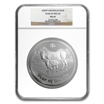 2009 1 kilo (32.15 oz) Silver Year of the Ox Coin NGC MS-69 (SII)