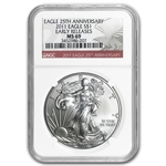2011 Silver Eagle - MS-69 NGC - 25th Anniv/Red Label/ER
