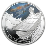 2011 1 oz Proof Silver Battle of Midway Coin - Naval Battles