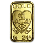 1 gram Gold #1 Mom Design Bar .9999 Fine