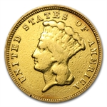 1854 $3 Gold Princess - Fine Details - Heavily Worn & Polished