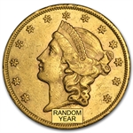 $20 Liberty Gold Double Eagle - Type 2 1866-1876 - AU